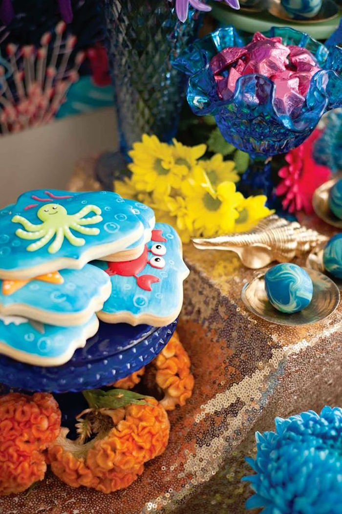 "Cookies + Decor from a Shark & Mermaid ""Under the Sea"" Joint Birthday Party via Kara's Party Ideas! KarasPartyIdeas.com (29)"