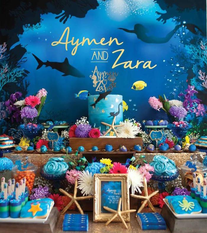 "Dessert Table Details from a Shark & Mermaid ""Under the Sea"" Joint Birthday Party via Kara's Party Ideas! KarasPartyIdeas.com (26)"
