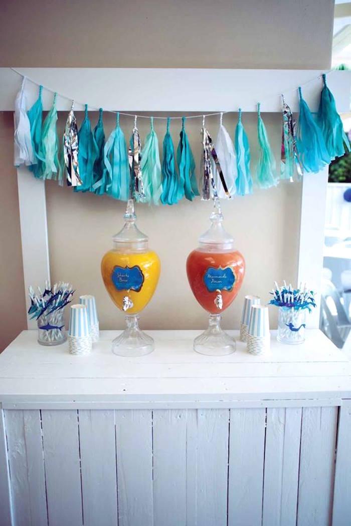 "Drink Table from a Shark & Mermaid ""Under the Sea"" Joint Birthday Party via Kara's Party Ideas! KarasPartyIdeas.com (25)"