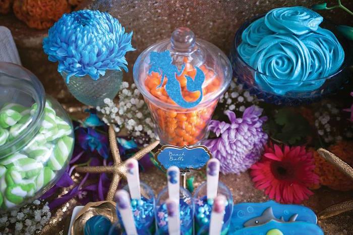 "Sweets + Decor from a Shark & Mermaid ""Under the Sea"" Joint Birthday Party via Kara's Party Ideas! KarasPartyIdeas.com (42)"