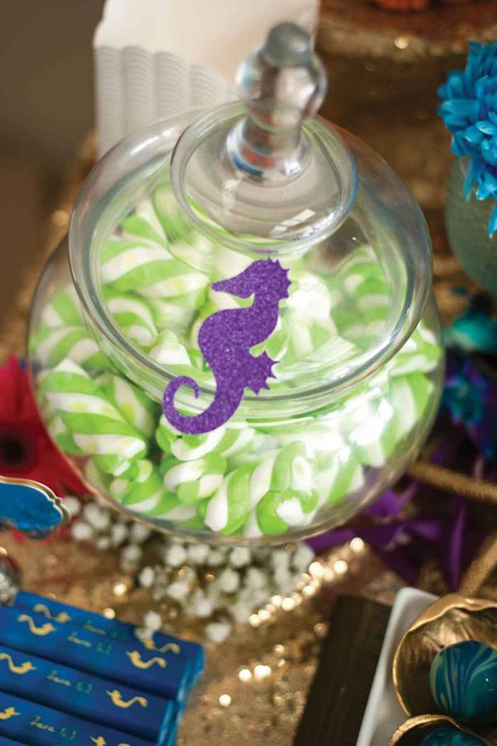 """Apothecary Jar filled with Puffy Pole Marshmallow Candy from a Shark & Mermaid """"Under the Sea"""" Joint Birthday Party via Kara's Party Ideas! KarasPartyIdeas.com (23)"""