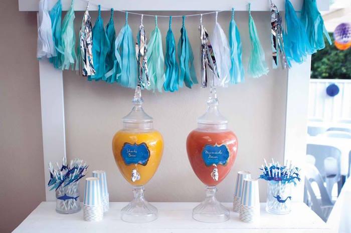 "Drink Table from a Shark & Mermaid ""Under the Sea"" Joint Birthday Party via Kara's Party Ideas! KarasPartyIdeas.com (22)"