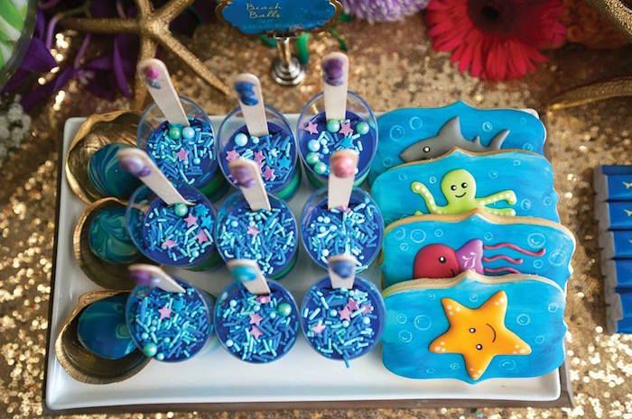 "Cookies + Layered Panna Cotta + Cake Balls from a Shark & Mermaid ""Under the Sea"" Joint Birthday Party via Kara's Party Ideas! KarasPartyIdeas.com (19)"