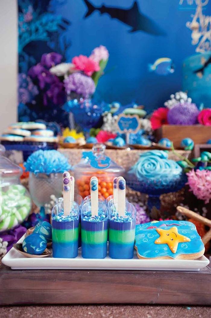 "Sweets from a Shark & Mermaid ""Under the Sea"" Joint Birthday Party via Kara's Party Ideas! KarasPartyIdeas.com (15)"