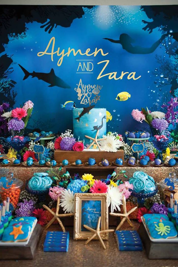 """Dessert Table from a Shark & Mermaid """"Under the Sea"""" Joint Birthday Party via Kara's Party Ideas! KarasPartyIdeas.com (41)"""