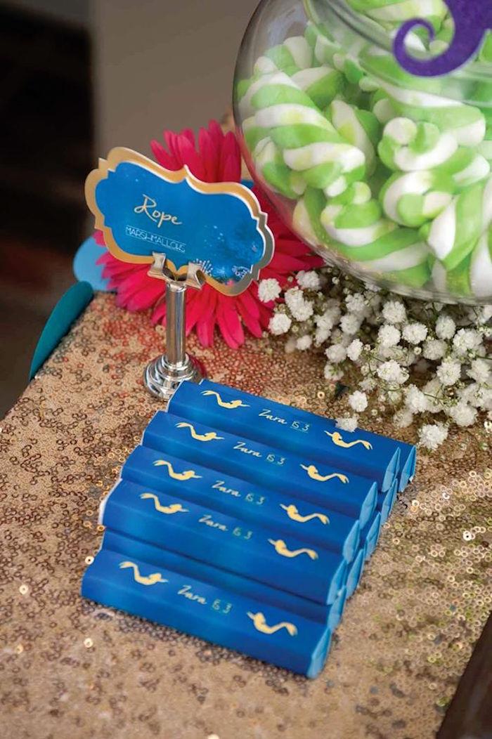 "Chocolate Bars from a Shark & Mermaid ""Under the Sea"" Joint Birthday Party via Kara's Party Ideas! KarasPartyIdeas.com (13)"