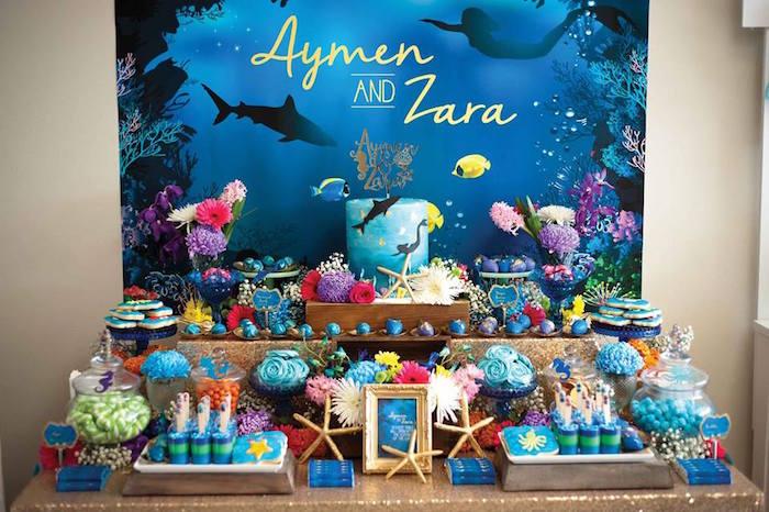 "Dessert Tablescape from a Shark & Mermaid ""Under the Sea"" Joint Birthday Party via Kara's Party Ideas! KarasPartyIdeas.com (12)"