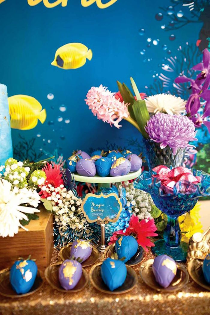 "Dessert Table Detail from a Shark & Mermaid ""Under the Sea"" Joint Birthday Party via Kara's Party Ideas! KarasPartyIdeas.com (9)"