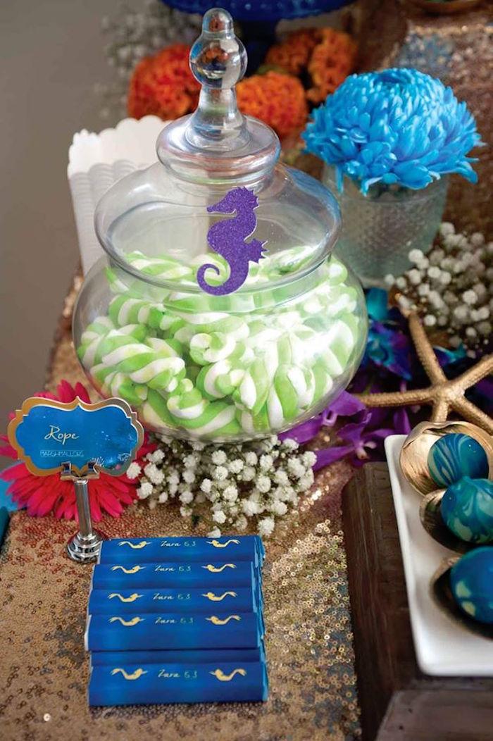 "Chocolate Bars + Puffy Pole Candy from a Shark & Mermaid ""Under the Sea"" Joint Birthday Party via Kara's Party Ideas! KarasPartyIdeas.com (5)"