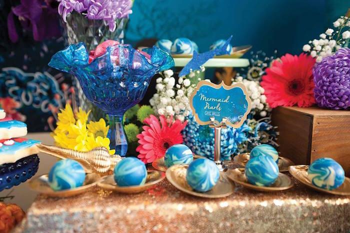 "Mermaid Pears + Cake Balls from a Shark & Mermaid ""Under the Sea"" Joint Birthday Party via Kara's Party Ideas! KarasPartyIdeas.com (39)"