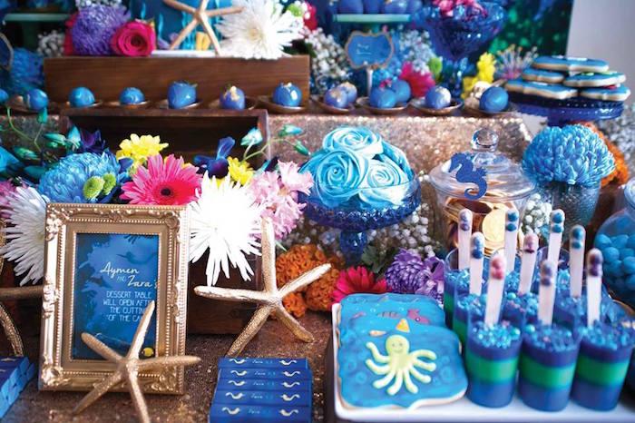 "Sweets + Details from a Shark & Mermaid ""Under the Sea"" Joint Birthday Party via Kara's Party Ideas! KarasPartyIdeas.com (38)"
