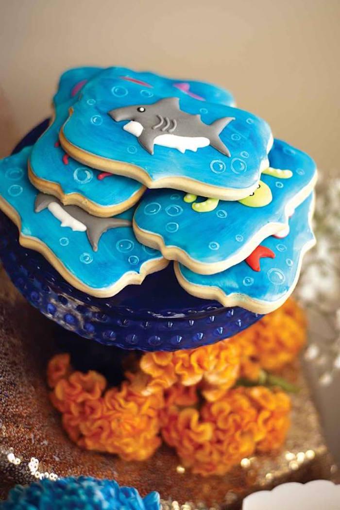 "Cookies from a Shark & Mermaid ""Under the Sea"" Joint Birthday Party via Kara's Party Ideas! KarasPartyIdeas.com (36)"