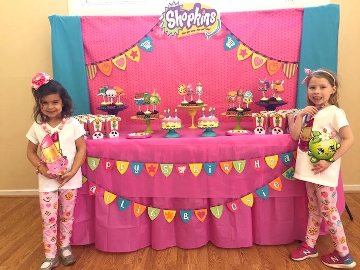 Birthday Girls + Sweet Table from a Shopkins Birthday Party via Kara's Party Ideas - KarasPartyIdeas.com (13)