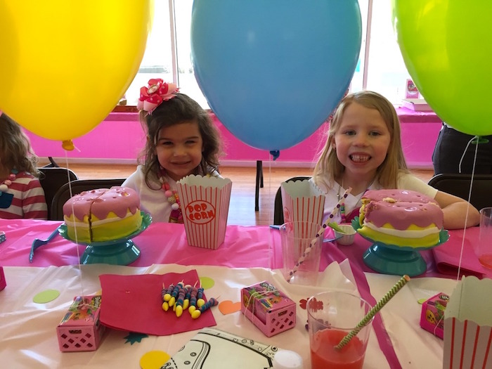 Birthday girls enjoying their cakes + food from a Shopkins Birthday Party via Kara's Party Ideas - KarasPartyIdeas.com (10)