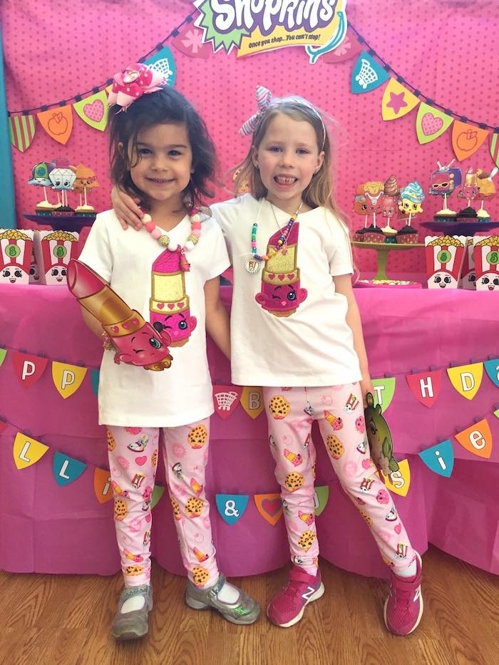Birthday girls all dressed to impress from a Shopkins Birthday Party via Kara's Party Ideas - KarasPartyIdeas.com (6)