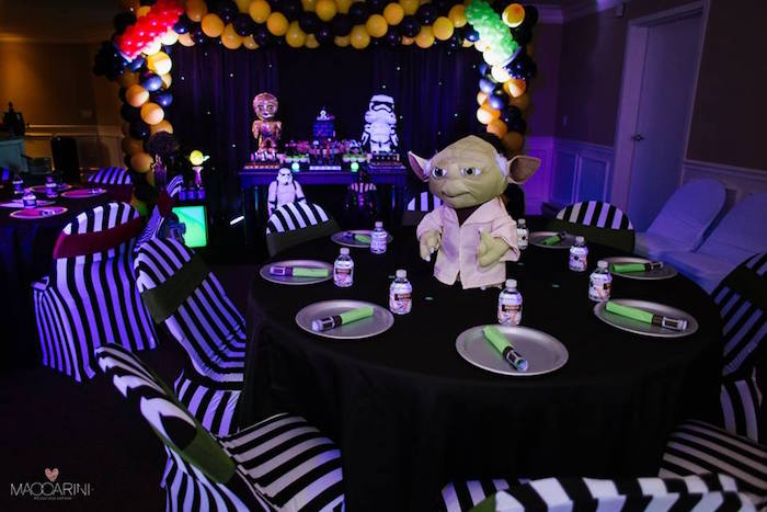 Yoda Inspired Guest Table From A Star Wars Glow In The Dark Birthday Party Via