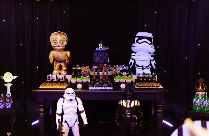 Dessert Table from a Star Wars Glow in the Dark Birthday Party via Kara's Party Ideas | KarasPartyIdeas.com (30)