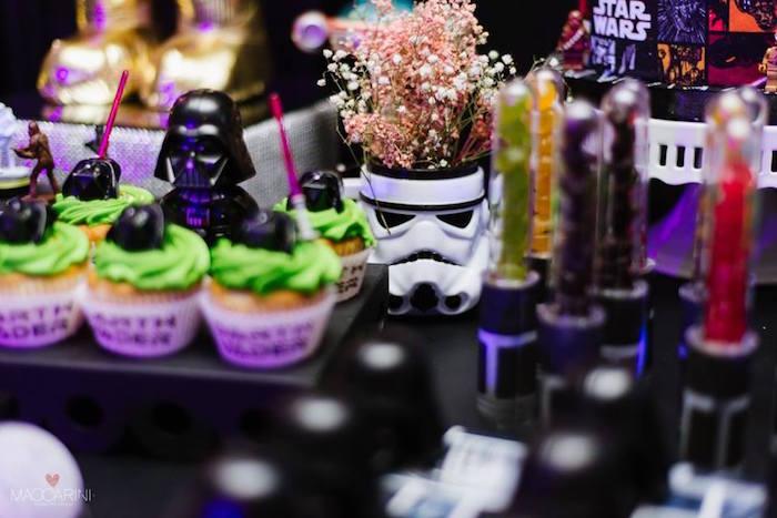Storm Trooper Floral Arrangement from a Star Wars Glow in the Dark Birthday Party via Kara's Party Ideas | KarasPartyIdeas.com (28)
