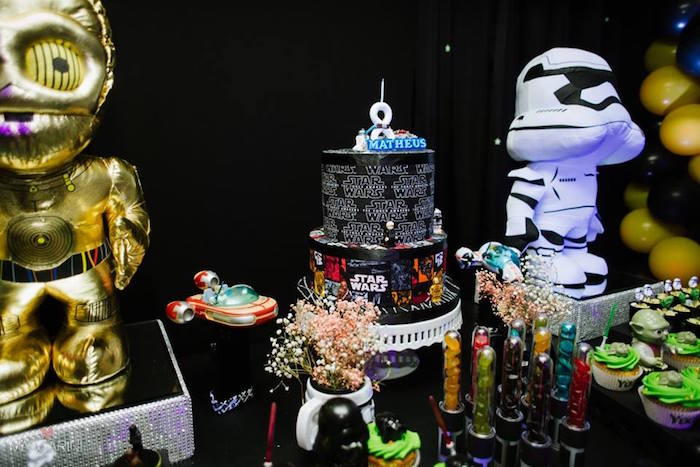 Sweet Table Details from a Star Wars Glow in the Dark Birthday Party via Kara's Party Ideas | KarasPartyIdeas.com (27)