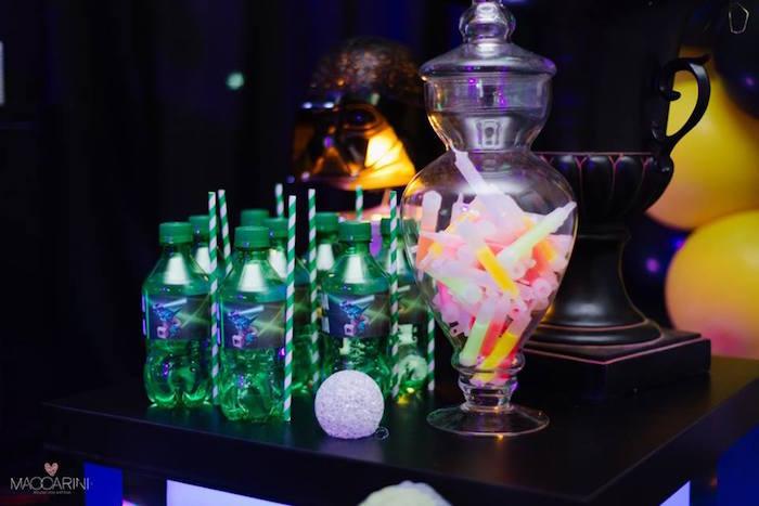 Drinks + Glow Sticks from a Star Wars Glow in the Dark Birthday Party via Kara's Party Ideas | KarasPartyIdeas.com (16)
