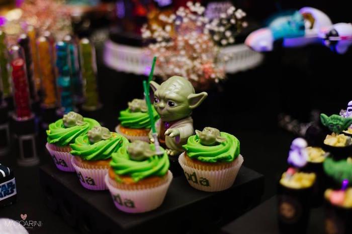 Cupcakes from a Star Wars Glow in the Dark Birthday Party via Kara's Party Ideas | KarasPartyIdeas.com (13)