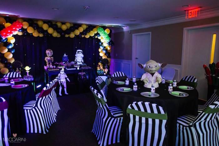 Partyscape from a Star Wars Glow in the Dark Birthday Party via Kara's Party Ideas | KarasPartyIdeas.com (39)