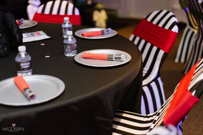 Darth Vader-inspired Table - Place Settings from a Star Wars Glow in the Dark Birthday Party via Kara's Party Ideas | KarasPartyIdeas.com (11)
