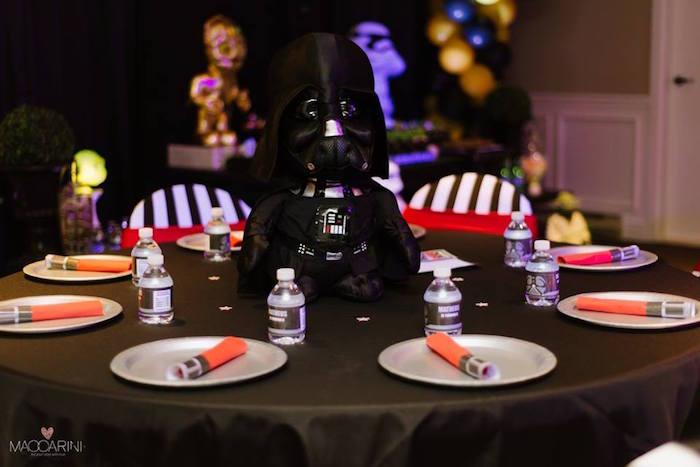 Darth Vader Table from a Star Wars Glow in the Dark Birthday Party via Kara's Party Ideas | KarasPartyIdeas.com (9)