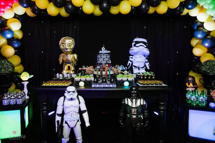full dessert table display from a star wars glow in the dark birthday party via karas - Star Wars Party Decorations
