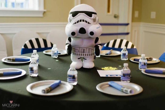 Storm Trooper Table from a Star Wars Glow in the Dark Birthday Party via Kara's Party Ideas | KarasPartyIdeas.com (5)