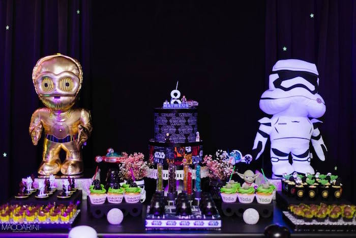 Close-up shot of a Dessert Table from a Star Wars Glow in the Dark Birthday Party via Kara's Party Ideas | KarasPartyIdeas.com (4)