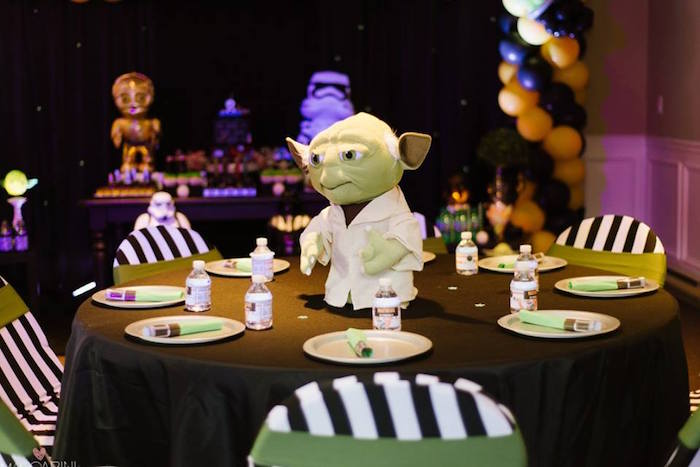 Yoda-Inspired Guest Table from a Star Wars Glow in the Dark Birthday Party via Kara's Party Ideas | KarasPartyIdeas.com (37)