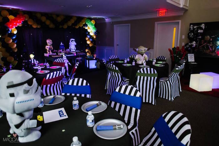 Partyscape + Guest Tables from a Star Wars Glow in the Dark Birthday Party via Kara's Party Ideas | KarasPartyIdeas.com (36)