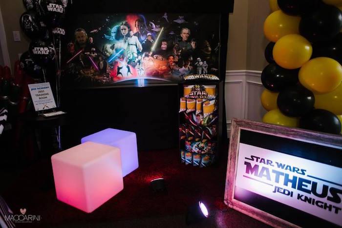 Jedi-Training + Favor Station from a Star Wars Glow in the Dark Birthday Party via Kara's Party Ideas | KarasPartyIdeas.com (35)