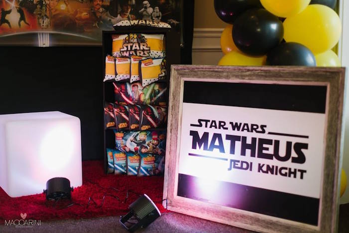 Sign + Favor Pillows from a Star Wars Glow in the Dark Birthday Party via Kara's Party Ideas | KarasPartyIdeas.com (34)