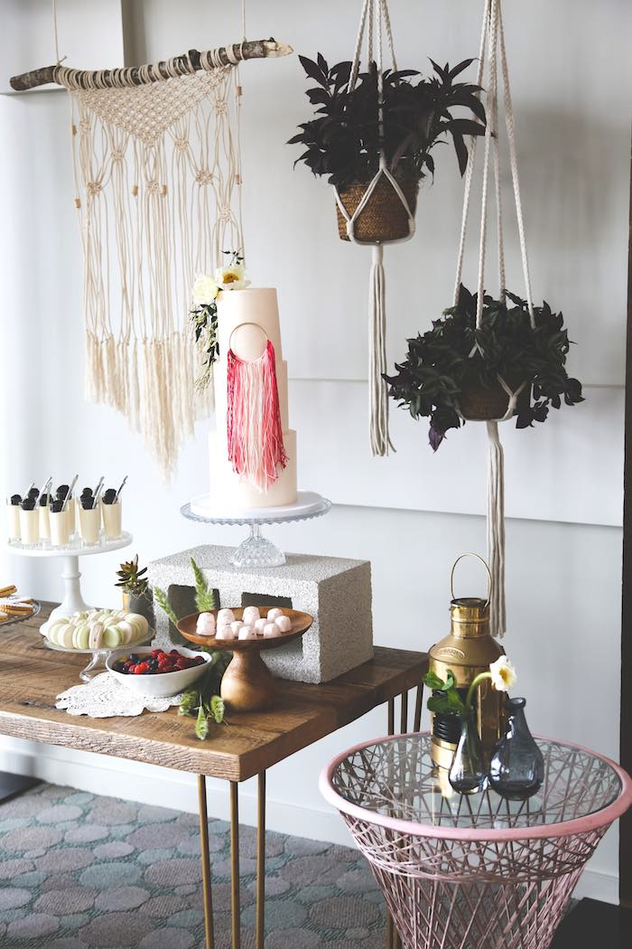 cake sweet table from a stay wild my child boho baby shower via kara