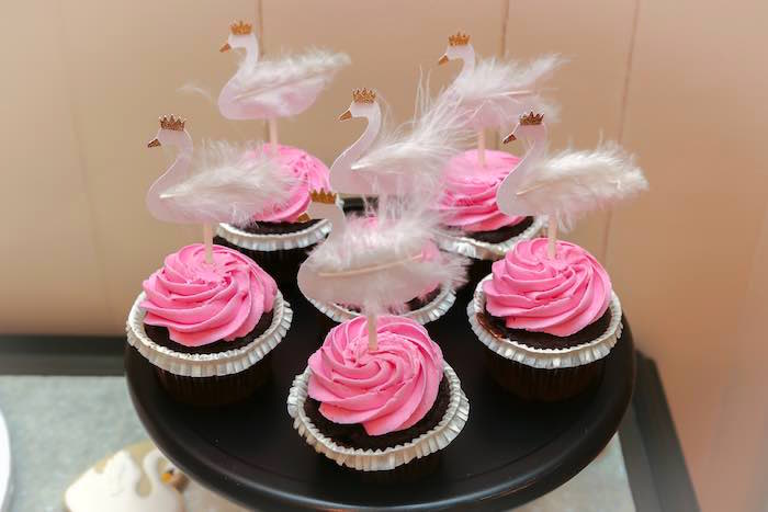 Cupcakes from a Swan Lake Themed Ballet Birthday Party via Kara's Party Ideas KarasPartyIdeas.com (11)