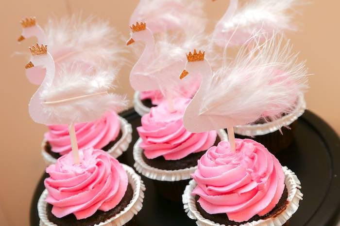 Cupcakes from a Swan Lake Themed Ballet Birthday Party via Kara's Party Ideas KarasPartyIdeas.com (10)
