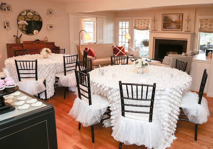 Guest Tables + Partyscape from a Swan Lake Themed Ballet Birthday Party via Kara's Party Ideas KarasPartyIdeas.com (6)