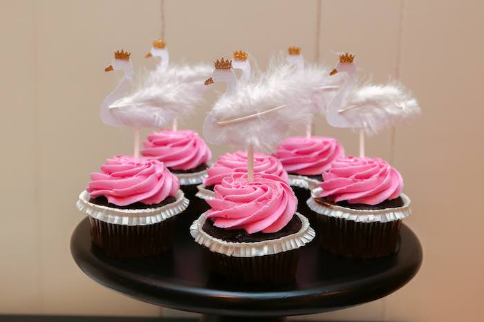 Cupcakes from a Swan Lake Themed Ballet Birthday Party via Kara's Party Ideas KarasPartyIdeas.com (12)