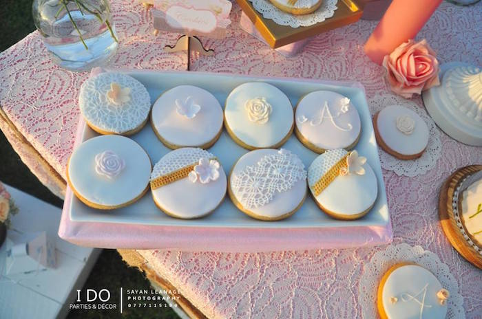 Cookies from a Vintage Shabby Chic 1st Birthday Party via Kara's Party Ideas | KarasPartyIdeas.com (36)