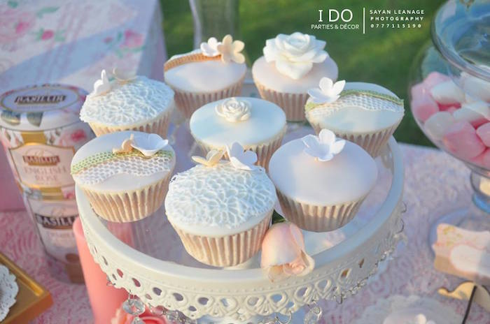 Cupcakes from a Vintage Shabby Chic 1st Birthday Party via Kara's Party Ideas | KarasPartyIdeas.com (35)