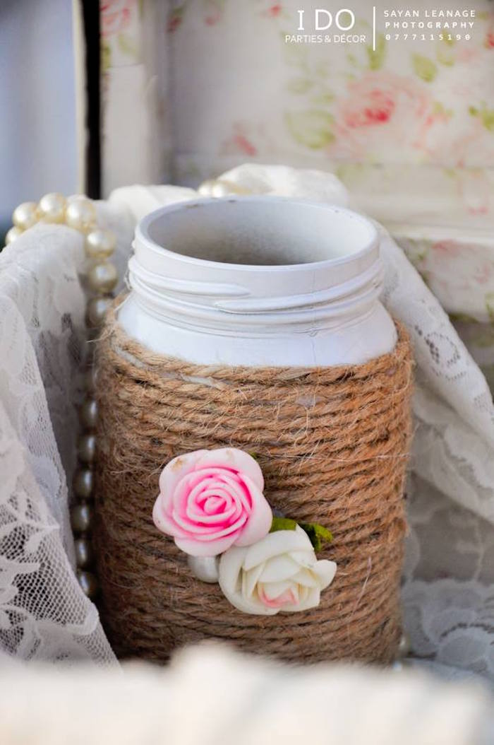 Twine Wrapped Jar from a Vintage Shabby Chic 1st Birthday Party via Kara's Party Ideas | KarasPartyIdeas.com (33)