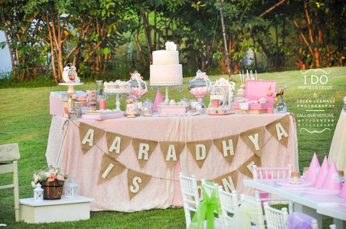 Dessert Table from a Vintage Shabby Chic 1st Birthday Party via Kara's Party Ideas | KarasPartyIdeas.com (31)