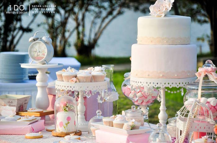 Dessert Table Detail from a Vintage Shabby Chic 1st Birthday Party via Kara's Party Ideas | KarasPartyIdeas.com (30)