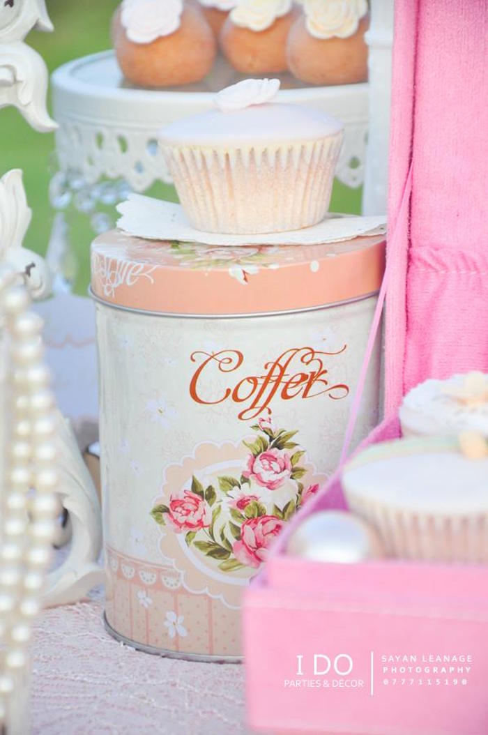 Vintage Tin from a Vintage Shabby Chic 1st Birthday Party via Kara's Party Ideas | KarasPartyIdeas.com (29)