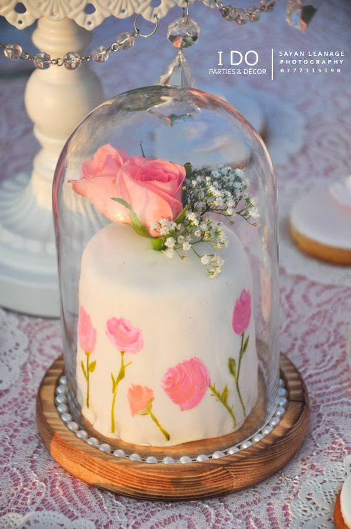 Mini Cake from a Vintage Shabby Chic 1st Birthday Party via Kara's Party Ideas | KarasPartyIdeas.com (28)