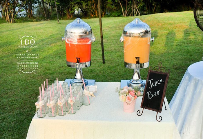Drink Table from a Vintage Shabby Chic 1st Birthday Party via Kara's Party Ideas | KarasPartyIdeas.com (46)