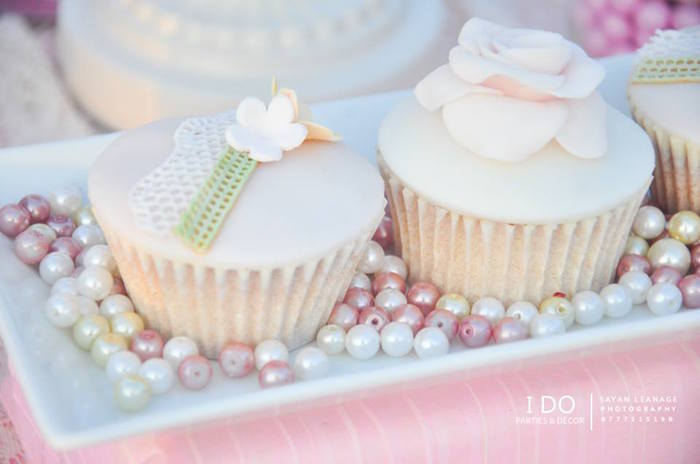 Cupcakes from a Vintage Shabby Chic 1st Birthday Party via Kara's Party Ideas | KarasPartyIdeas.com (24)