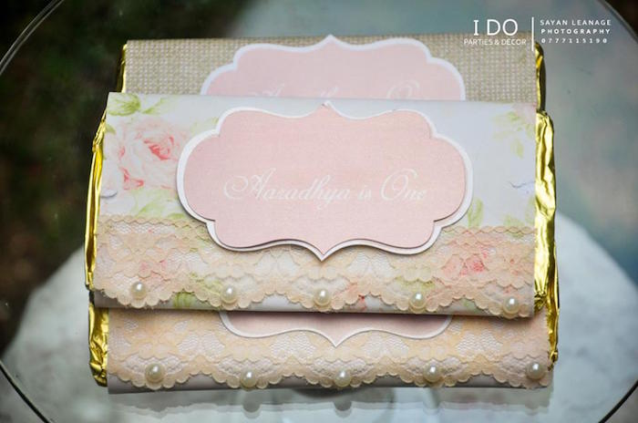 Chocolate Bars from a Vintage Shabby Chic 1st Birthday Party via Kara's Party Ideas | KarasPartyIdeas.com (23)